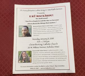 Kalani Souza offers keynote address for MLK day 2019, Christ the King Church, Maui