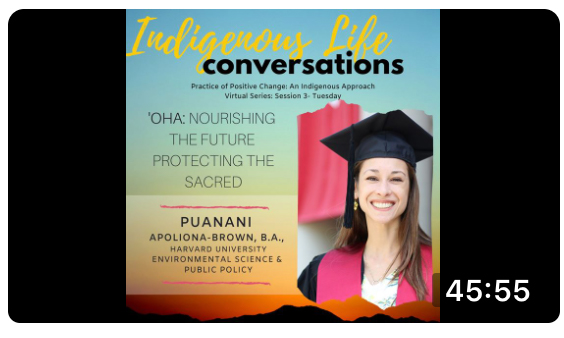 Screen shot of video for Practice of Positive Change: An Indigenous Approach with Puanani Brown; click to follow link and watch video