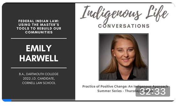 Screen shot of video for Practice of Positive Change: An Indigenous Approach with Emily Harwell; click to follow link and watch video